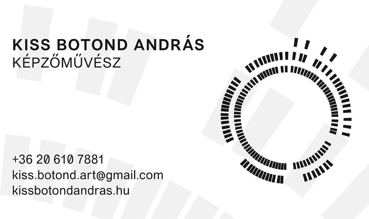 Kiss Botond András képzőművész névjegykártyája 2020